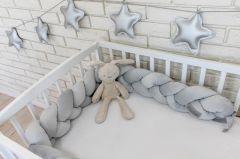 Mantinel Baby Nellys pletený cop velvet - světle šedý