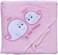 Froté ručník - Scarlett velryby s kapucí - růžová