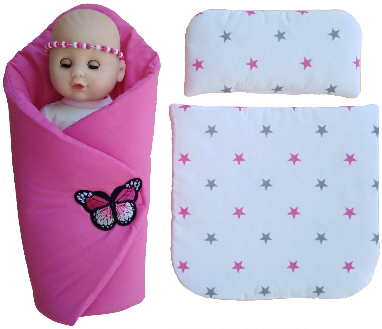 Sada pro panenku - zavinovačka, peřinka a polštářek Miminkaabatolata