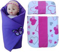 Sada pro panenku - zavinovačka, peřinka a polštářek