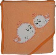 Froté ručník - Scarlett velryby s kapucí - meruňková